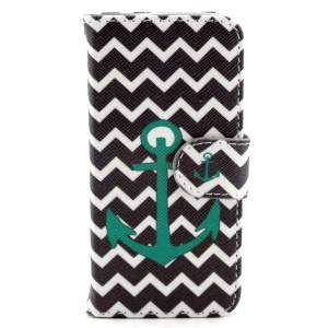 Anchor & Ripples Wallet Leather Stand Cover for iPhone 5c