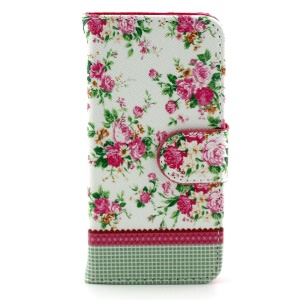 Fresh Flowers Leather Magnetic Case w/ Stand for iPhone 5c