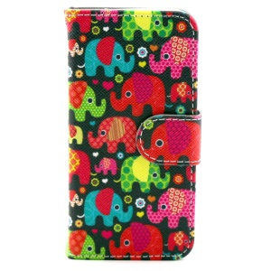 Colorized Elephants Leather Magnetic Cover w/ Stand for iPhone 5c