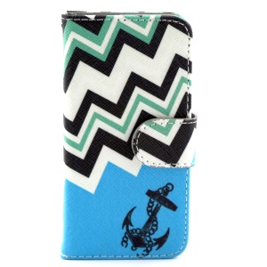 Anchor & Gradient Stripes Magnetic Leather Stand Cover for iPhone 5c