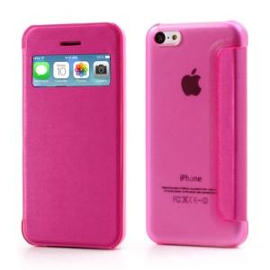 Rose Slim Window Leather Flip Case for iPhone 5C