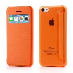 Orange Slim Window Leather Flip Case for iPhone 5C