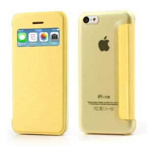 Yellow Slim Window Leather Flip Cases for iPhone 5C