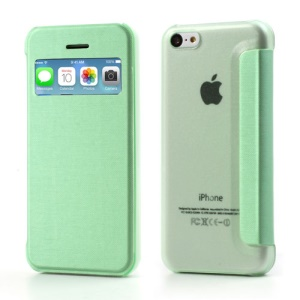 Green Slim Window Leather Flip Cover for iPhone 5C