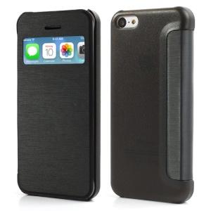 Black Slim Window Leather Flip Case for iPhone 5C