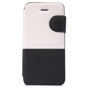 Baseus Lively Stand Leather Case for iPhone 5C - White / Black