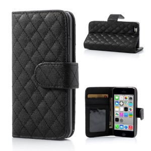 Black Rhombus Leather Wallet Case Stand for iPhone 5c
