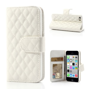 White Rhombus Leather Wallet Cover Stand for iPhone 5c