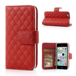 Red Rhombus Leather Credit Card Wallet Cover Stand for iPhone 5c