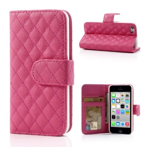 Rose Rhombus Leather Credit Card Wallet Cover Stand for iPhone 5c