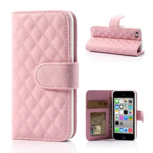 Pink Rhombus Leather Credit Card Wallet Case Stand for iPhone 5c