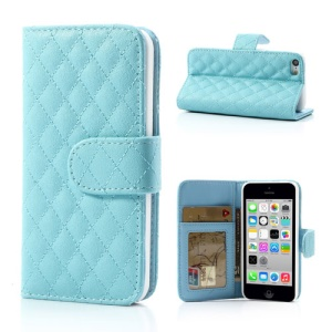 Baby Blue for iPhone 5c Rhombus Leather Case w/ Card Slots & Stand
