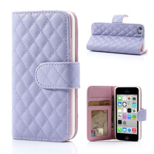 Purple for iPhone 5c Rhombus Leather Case w/ Card Slots & Stand