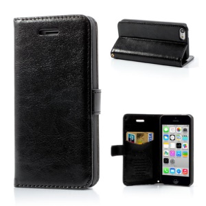 Black for iPhone 5c Crazy Horse Wallet Leather Case Stand
