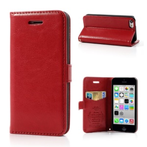 Red for iPhone 5c Classic Crazy Horse Wallet Leather Cover Stand