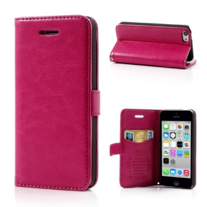 Rose for iPhone 5c Classic Crazy Horse Wallet Leather Case Stand