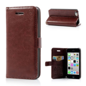 Red Brown for iPhone 5c Classic Crazy Horse Wallet Leather Case Stand