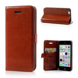 Brown for iPhone 5c Classic Crazy Horse Wallet Leather Case Stand
