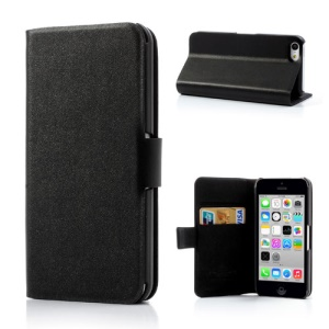 Black Doormoon Wallet Genuine Leather Case with Stand for iPhone 5c