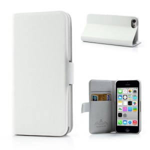 White Doormoon for iPhone 5c Wallet Genuine Leather Cover with Stand
