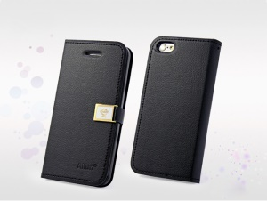 Black Deere Ailun Silm Wallet Leather Flip Cover for iPhone 5c