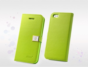 Green Deere Ailun Silm Card Slot Leather Case for iPhone 5c