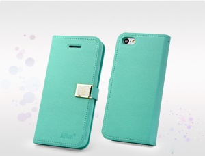 Cyan Deere Ailun Silm Card Slot Leather Cover for iPhone 5c