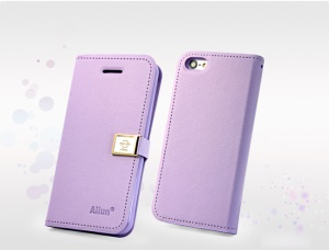 Purple Deere Ailun Silm Card Slot Leather Cover for iPhone 5c
