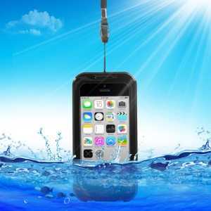 Qualified Waterproof Case Cover for iPhone 5c 4S 4 + Neck Strap - Black