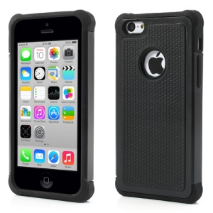 2 in 1 Football Grain PC & Silicone Hybrid Case for iPhone 5c - Black
