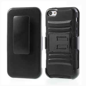 For iPhone 5c 3 in 1 Heavy Duty Armor Slide Hybrid Case w/ Belt Clip Holster & Stand - Black