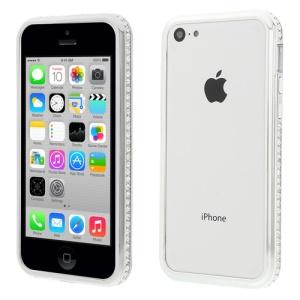 Silver 2 in 1 Plastic & Metal Diamante Bumper Frame for iPhone 5c