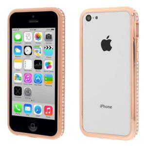 Champagne 2 in 1 Plastic & Metal Diamante Bumper Case for iPhone 5c