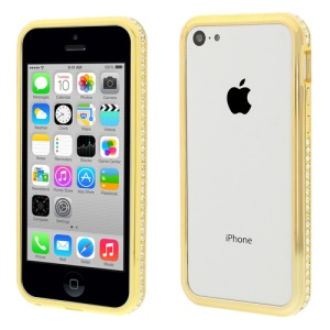 Gold for iPhone 5c 2 in 1 Plastic & Metal Diamante Bumper Shell