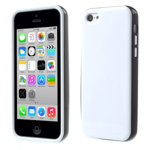 Glossy TPU & PC Frame Combo Cover for iPhone 5c - White