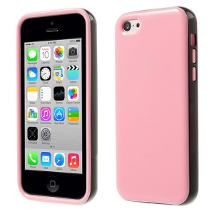 Glossy TPU & PC Frame Combo Shell Case for iPhone 5c - Pink