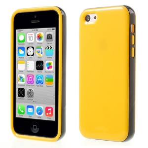 Glossy TPU & PC Frame Combo Shell Case for iPhone 5c - Yellow