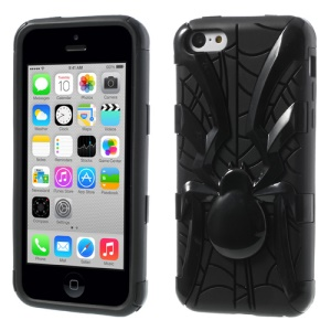 Black 3D Plastic Spider & TPU Back Case for iPhone 5c