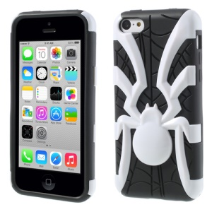 White 3D Plastic Spider & TPU Back Case for iPhone 5c