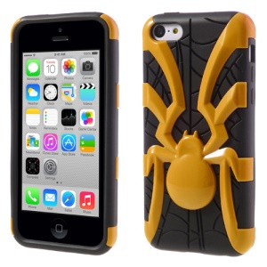 Orange 3D Plastic Spider & TPU Hybrid Case for iPhone 5c