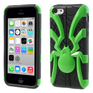 Green for iPhone 5c 3D Plastic Spider & TPU Hybrid Cover