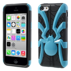 Blue 3D Plastic Spider & TPU Hybrid Cover for iPhone 5c