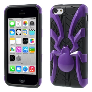 Purple for iPhone 5c 3D Plastic Spider & TPU Hybrid Cover