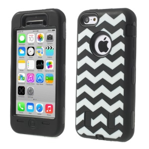 For iPhone 5c PC & Silicone Impact-resistant Armored Hybrid Case Wave Pattern - Black