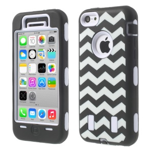 For iPhone 5c PC & Silicone Impact-resistant Armored Hybrid Case Wave Pattern - White