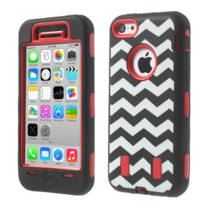 For iPhone 5c PC & Silicone Impact-resistant Armored Hybrid Case Wave Pattern - Red