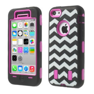 For iPhone 5c PC & Silicone Impact-resistant Robot Hybrid Cover Wave Pattern - Rose