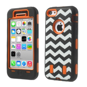 For iPhone 5c PC & Silicone Impact-resistant Robot Hybrid Cover Wave Pattern - Orange