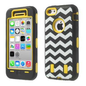 For iPhone 5c PC & Silicone Impact-resistant Robot Hybrid Cover Wave Pattern - Yellow