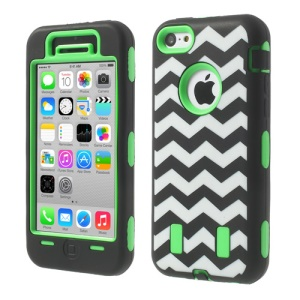 For iPhone 5c PC & Silicone Impact-resistant Robot Hybrid Shell Wave Pattern - Green